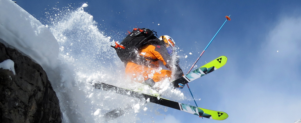 Durango Skier Launching off Cornice